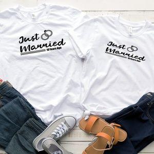 Gildan Tops - Custom Just Married His & Her Vinyl Gildan T-Shirt
